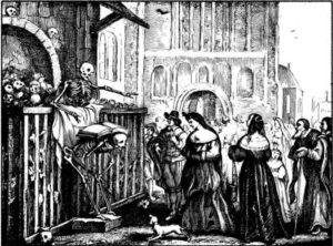 Bilden är en svartvit teckning, och föreställer en skelett som predikar ur en bok utanför en byggnad full med döskallar. Framför skelettet er man en folksamling, med några finklädda kvinnor i spetsen.