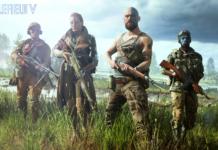 Bilden är en screenshot från spelet Battlefield 5, föreställande fyra beväpnade soldater som står i högt gräs. Den andra soldaten från vänster är en kvinna i lång rock hållandes ett gevär.
