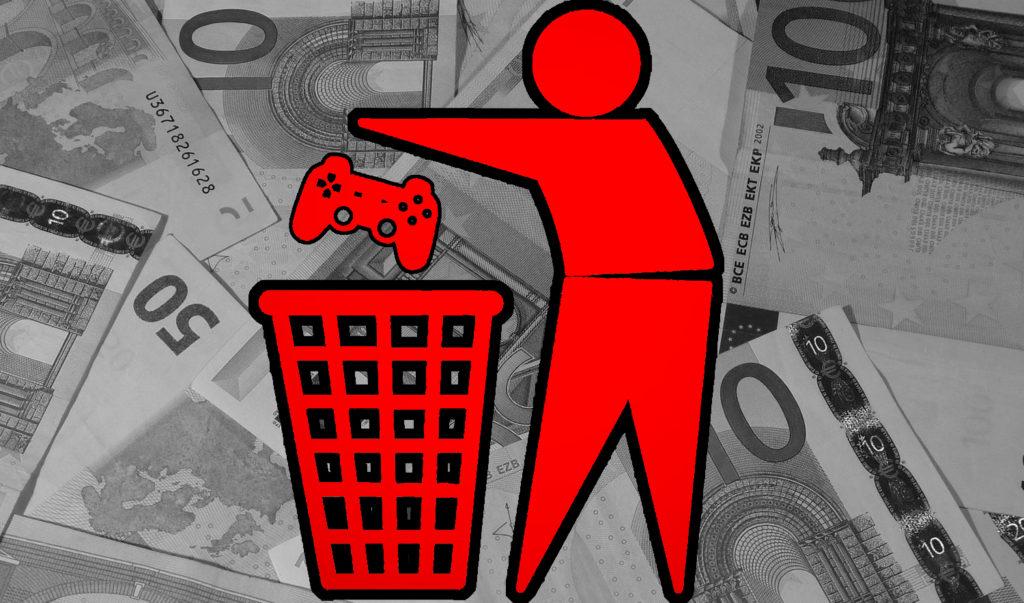 Bilden föreställer en stiliserad ikon av en person som slänger en Playstation-kontroll i en soptunna. I bakgrunden ser man massvis av Euro-sedlar.