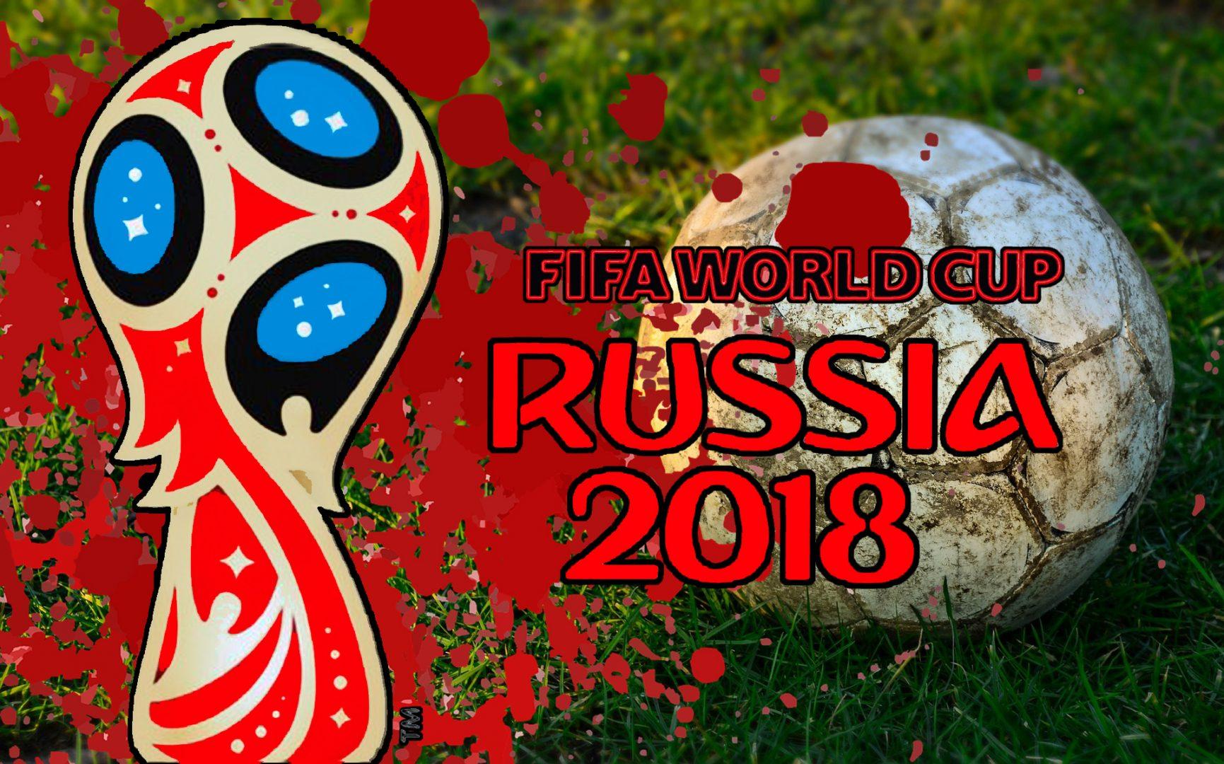Bilder föreställer pokal-symbolen för fotbolls-VM 2018, samt texten Fifa World Cup 2018. I bagrunden ser mane en sliten fotboll på en gräsmatta, och stänk av blod.