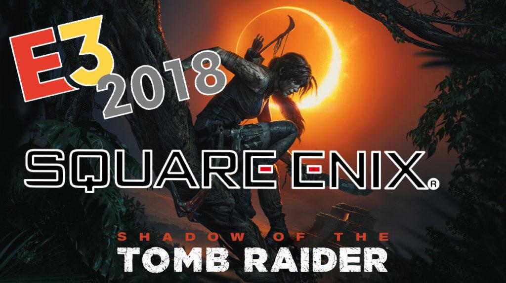 Bilden föreställer Lara Croft sittandes i ett träd, med sin pilbåge på ryggen. På himlen bakom henne brinner den glödande ytterkanten på en solförmörkelse.