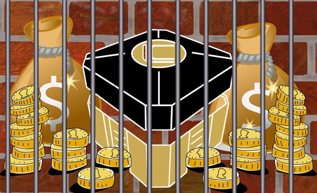 Bilden föreställer en tecknad lootbox från spelet Overwatch, omgiven av mynt och pengasäckar – allt bakom ett fängelsegaller mot en bakgrund av rött tegel.