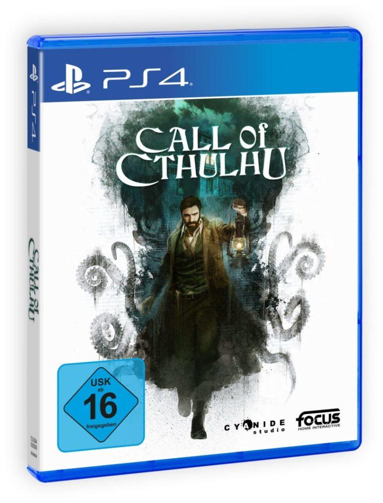 Bilden föreställer omslaget till spelet Call of Cthulhu. På omlaget ser man detektiv Pierce, klädd i trenchcoat och med mörkt skädd, som håller i en lykta omgiven av mörka tentakler.