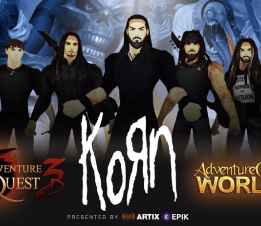 En tecknad bild av bandet Korn, med bilder från spelen i bangrunden. I förgrunden finns bandets logga, samt loggorna för spelen AdventureQuest 3D & AQWorlds.