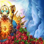 Omslaget till spelet Borderlands 3. En Bandit i gasmask håller upp tre fingrar och ett gyllene sawblade i en ritual-liknande gest.