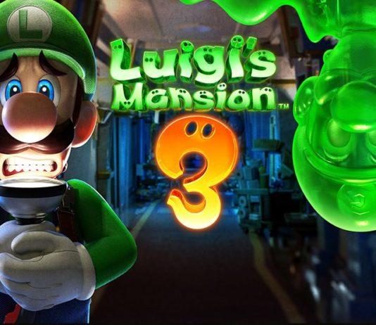 Luigi står i en mörk korridor med ett skrämt uttryck och en ficklampa under hakan. Från taket kikar en grön kopia av honom ned.