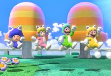 En bild från Super Mario 3D world + Bowsers Fury, dör fyra av spelets karaktärer hoppar genom en färgglad miljö iklädda kattdräkter